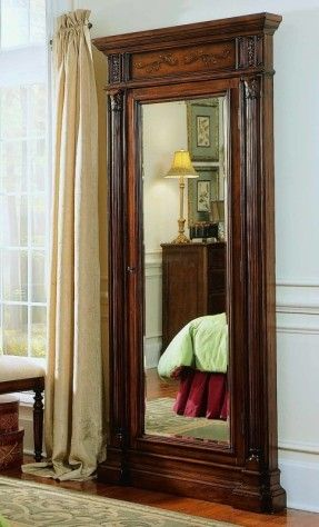 Elegant natural wall mounted mirrored jewelry armoire