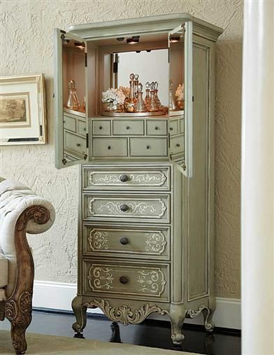 Refined large floor standing jewelry armoire