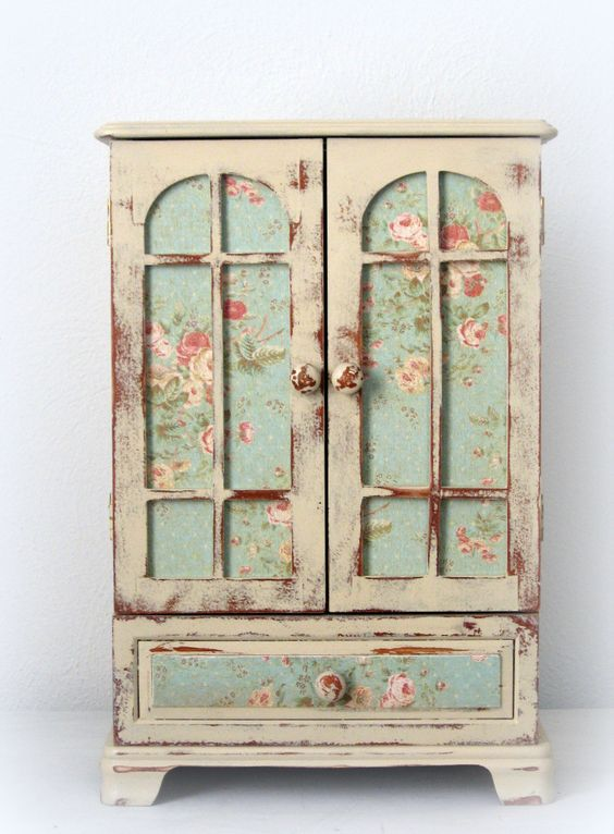 Dresser top jewelry armoire with vintage charm