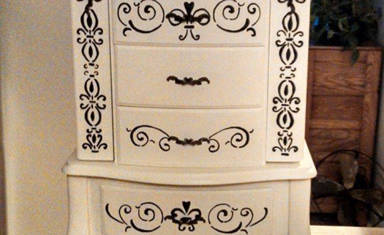Sophisticated black and white jewelry armoire