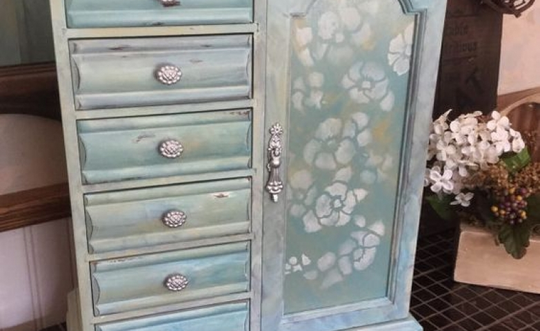 Light blue jewelry armoire