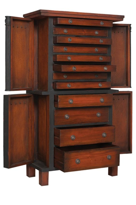 Large cherry floor standing jewelry armoire