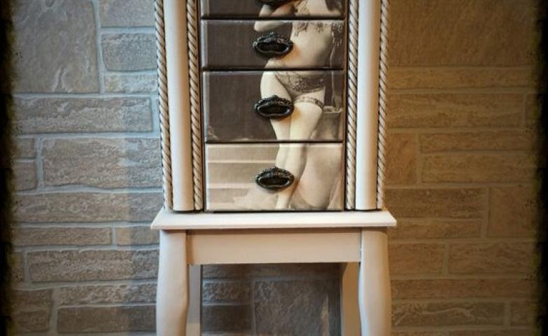 Traditional romantic jewelry armoire