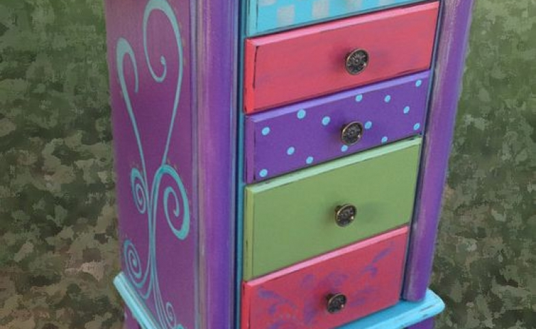 Purple painted jewelry armoire