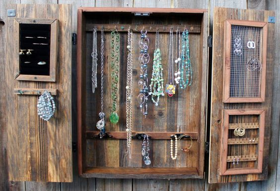 Natural wall mounted jewelry armoire