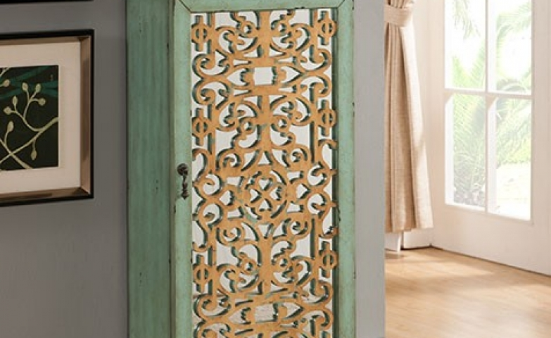 Green And Gold Decorated Mirror Jewelry Armoire.