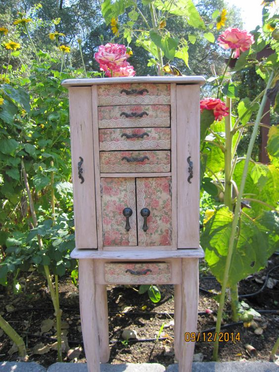 Light pink hand painted jewelry armoire