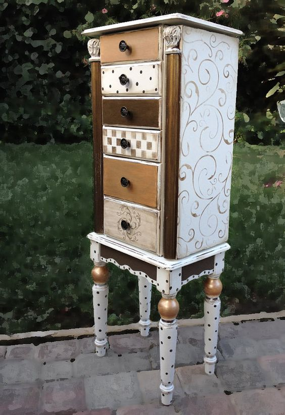 White gold hand painted jewelry armoire