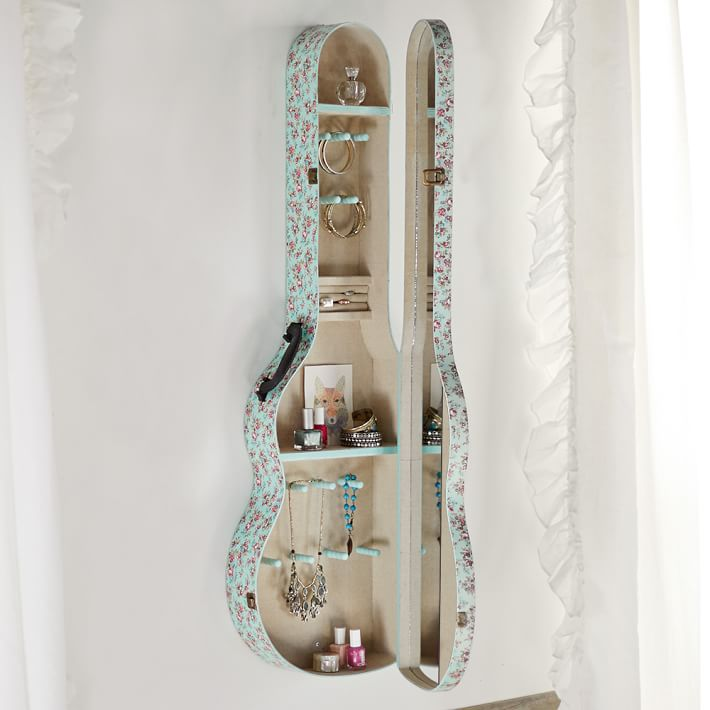 Wall mounted guitar case jewelry armoire