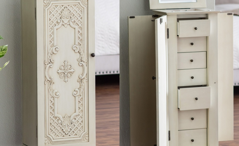 White decorated jewelry armoire with lock