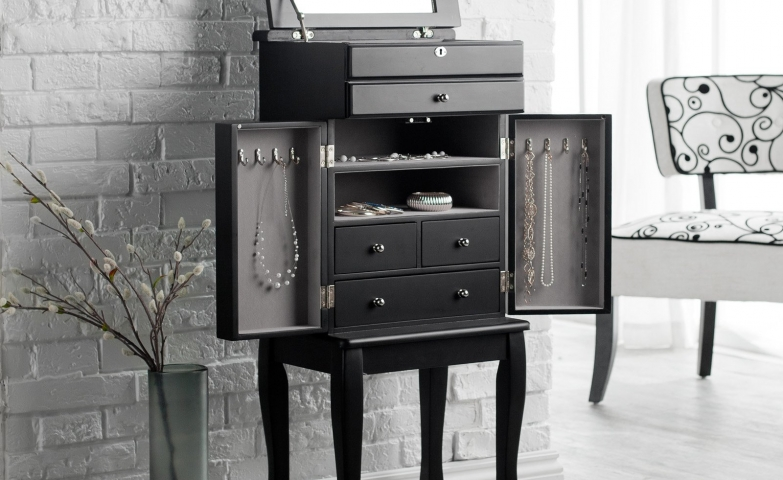 Small black modern jewelry armoire