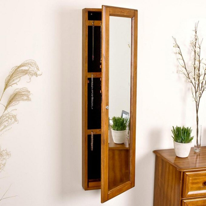 Natural Wood Jewelry Armoire