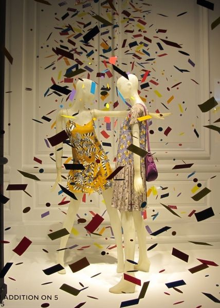 Color shower saks spring window display