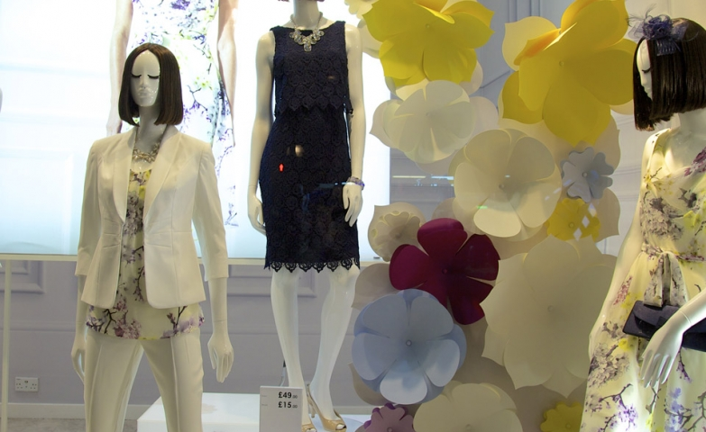 Paper Flower spring window display at british home store