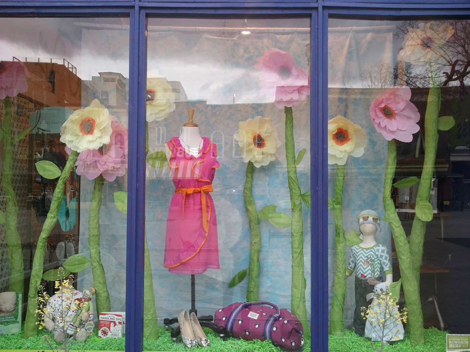 Childish spring window display Bliss boutique