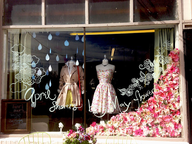 Cute april showers twirl spring window display