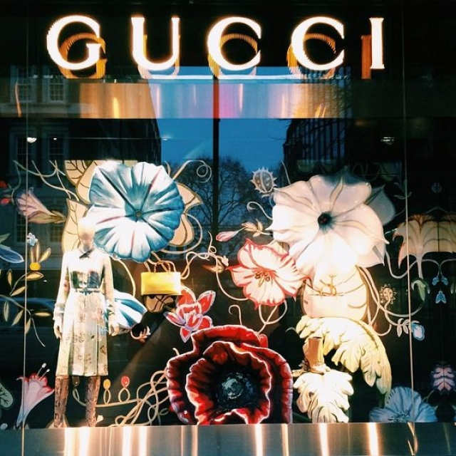 Gucci floral spring window display