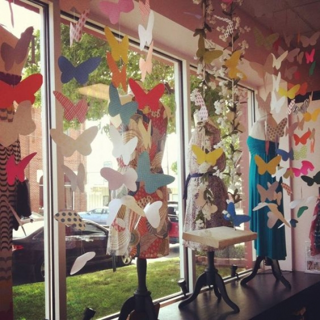 Glamour gowns and more butterflies spring window display