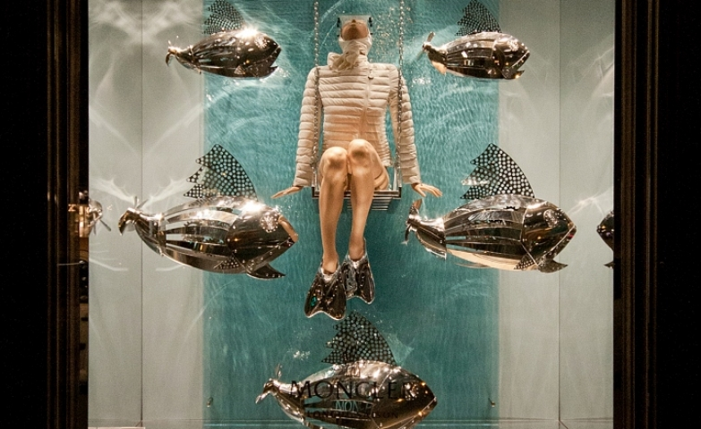 Moncler silver fish spring window display