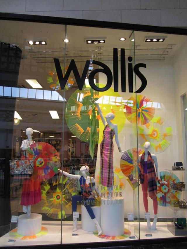 Wallis multicolored spring window display