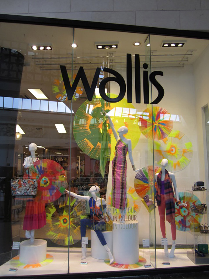 Wallis multicolored spring window display