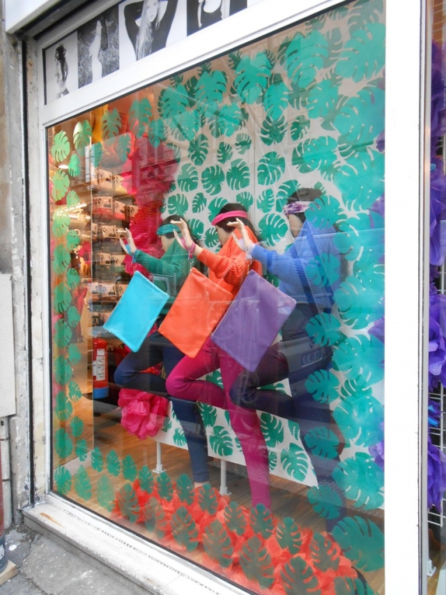 American Apparel colorful spring window display