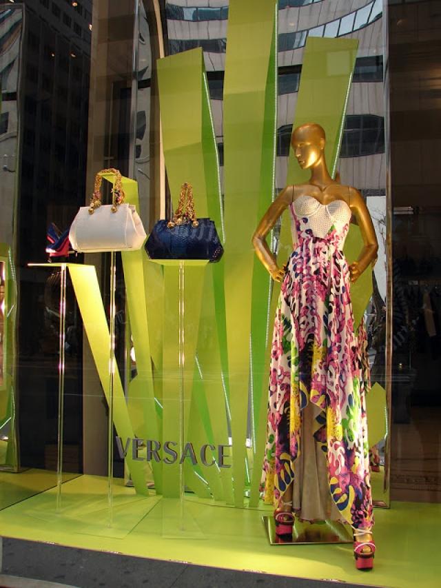 Green Versace spring window display