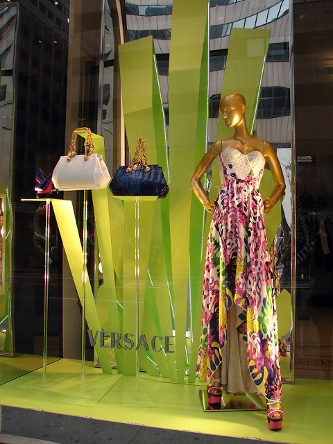Green Versace spring window display
