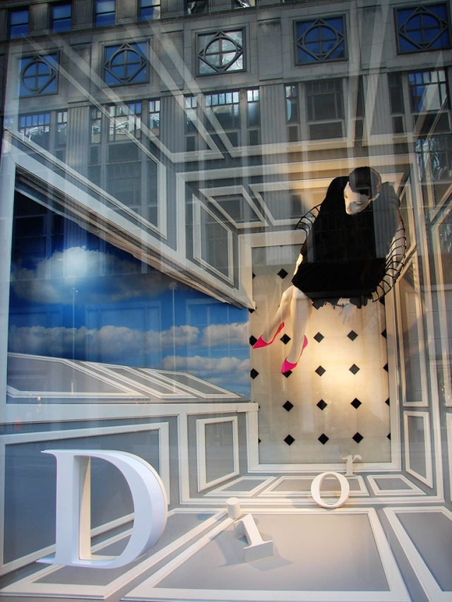 Dior 3d letters and shifted perspective spring window display