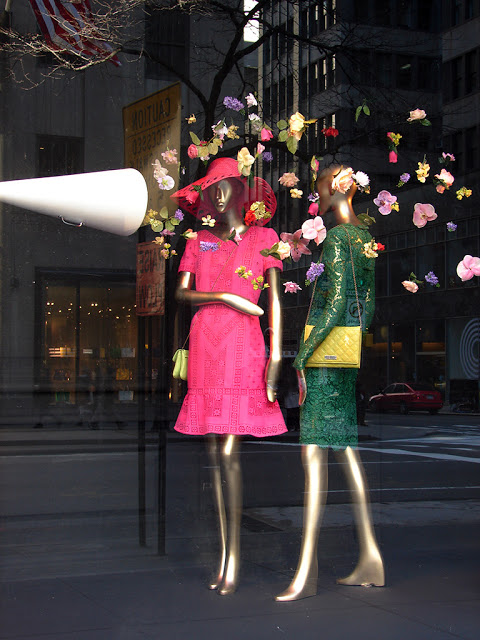 Saks flower horn spring window display