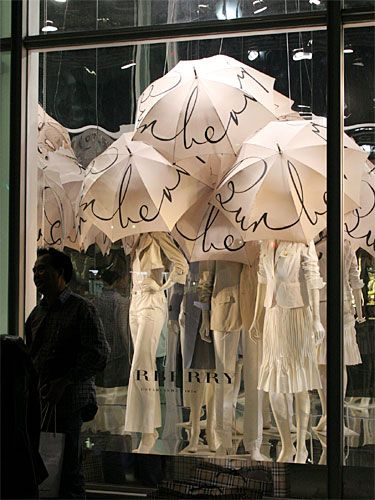 Burberry white umbrellas tokyo spring window display