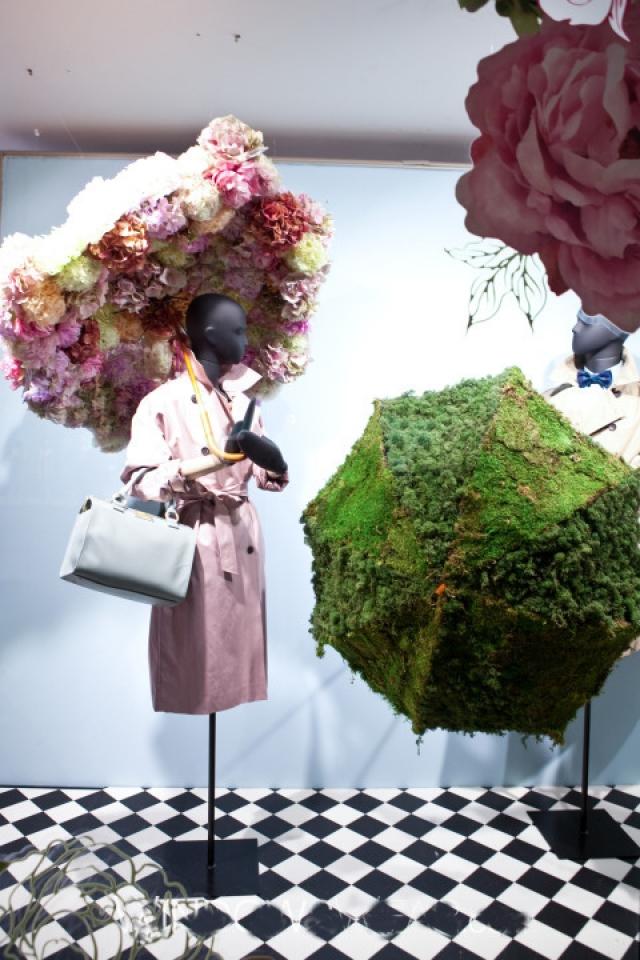 House of fraser flower umbrellas spring window displays