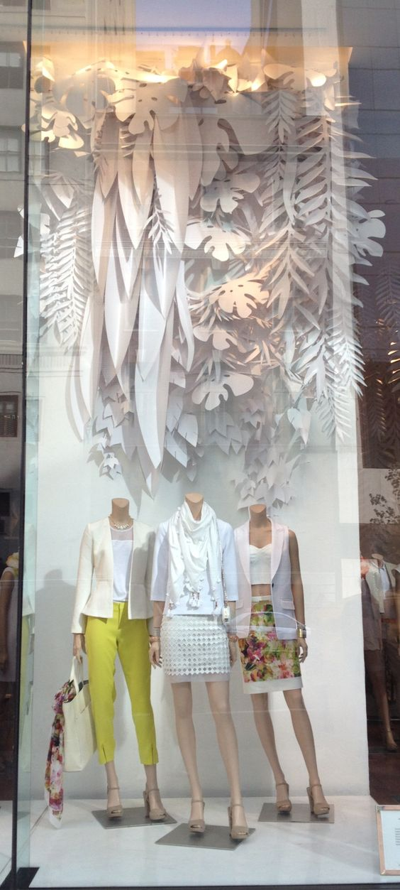 Paper art spring window display