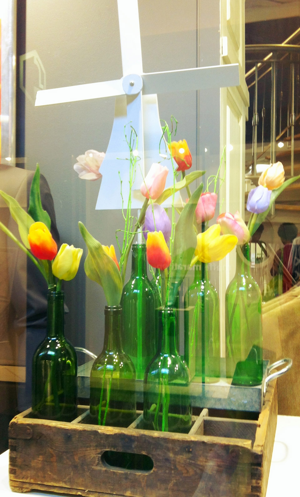 Tulips and windmill spring window display