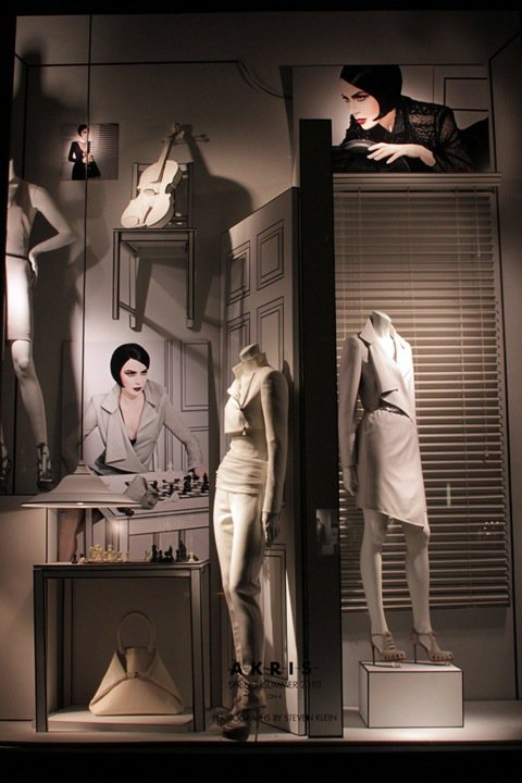 Akris white spring window display