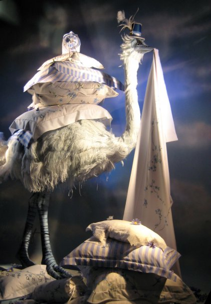 Bergdorf Goodman ostrich spring window display