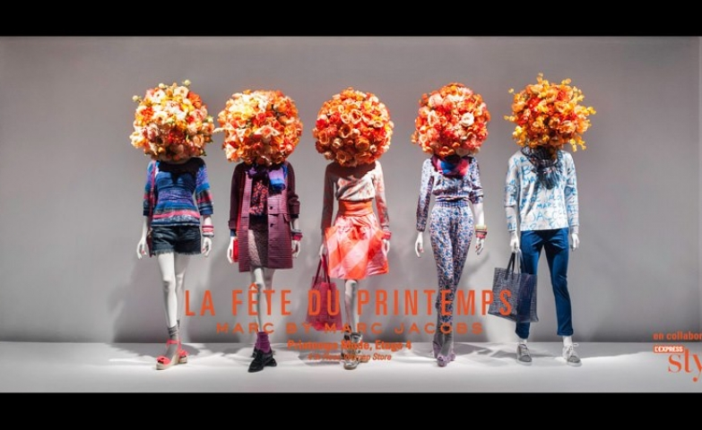 Marc jacobs orange flowers spring window display