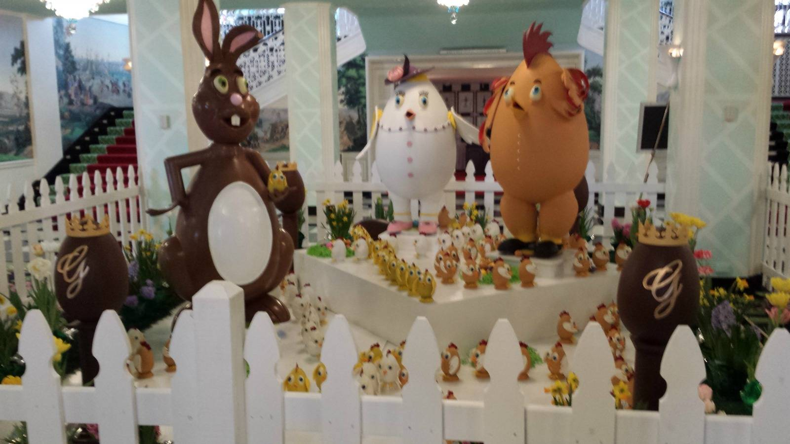 This is not in the window, but it is also a yummy chocolate display for Easter.
