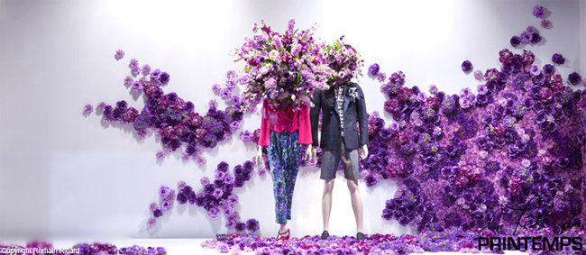 Printemps paris 2010 purple flowers spring window display