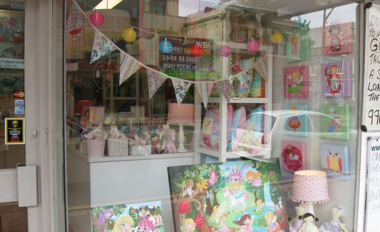 Easter window display, decorated with decorating paintings for kids, good for the bedroom or for parties.
