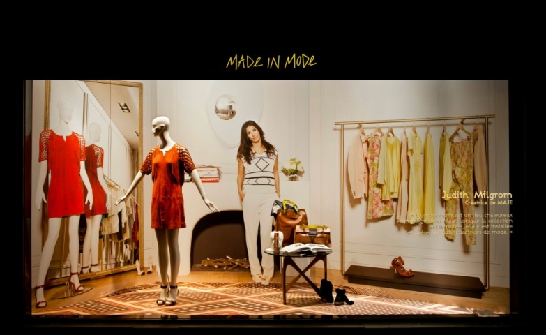 Maje woman flat spring window display
