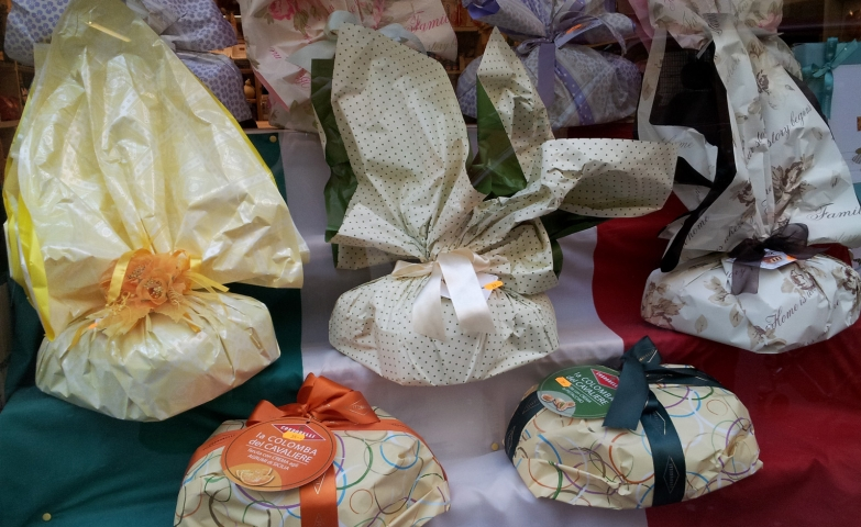 Fancy packages with bows in different colors for the Easter window display.