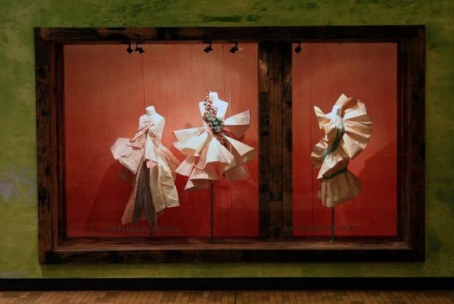 Anthropologie paper dresses spring window display