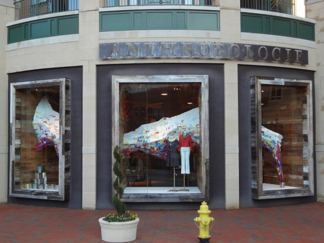 Colorful Anthropologie spring window display