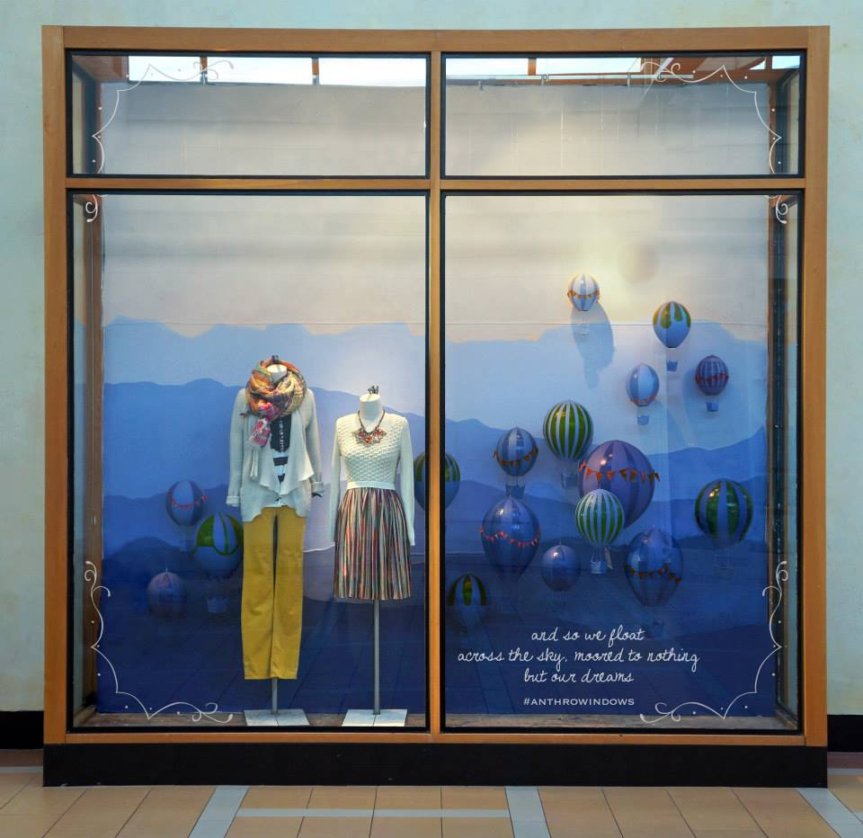 Anthropologie hot air balloons spring window