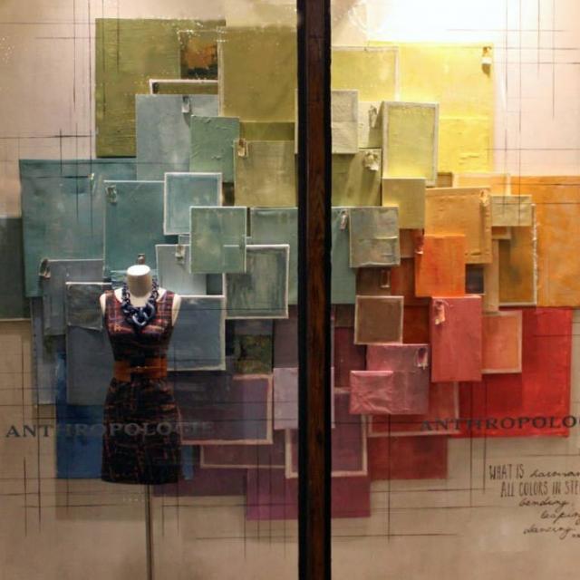 Anthropologie spring window display pastel colors