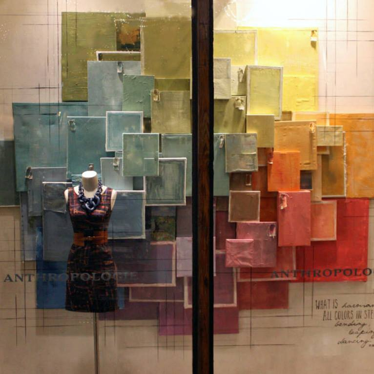Anthropologie spring window display pastel colors