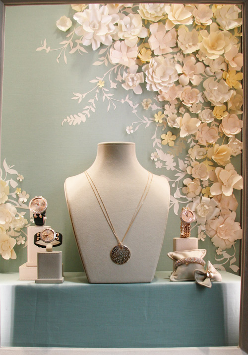 Chopard paper flowers spring window display