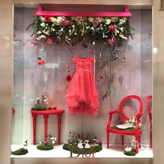 Dior paris hot pink spring window display