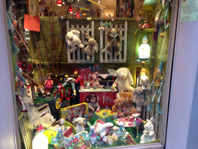 Pierrot La Lune has something for kids. A window display decorated with plush toys for Easter.